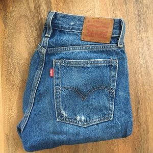 Dark wash distressed Levi's